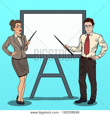 Pop Art Businessman and Business Woman with Pointer Stick and White Board. Vector illustration