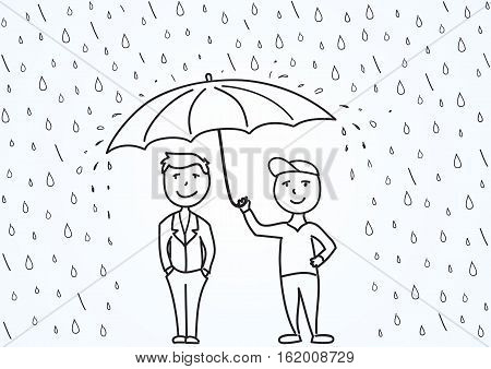 Hand drawn sketch vector illustration, two cartoon men under umbrella. Illustration about professional work, care about customers, business safety
