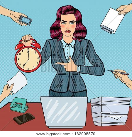 Pop Art Business Woman Holding Alarm Clock at Multitasking Office Work with Laptop. Vector illustration