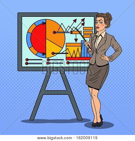 Pop Art Business Woman with Pointer Stick Presenting Business Chart. Vector illustration
