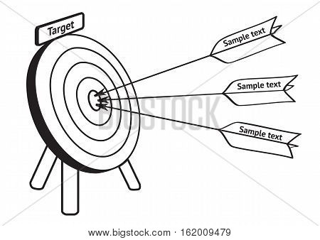 Arrows hit the target, hand drawn vector illustration isolated on white. Picture about leadership, direct marketing. Editable sketch design elements for banner, website, poster, card, collage