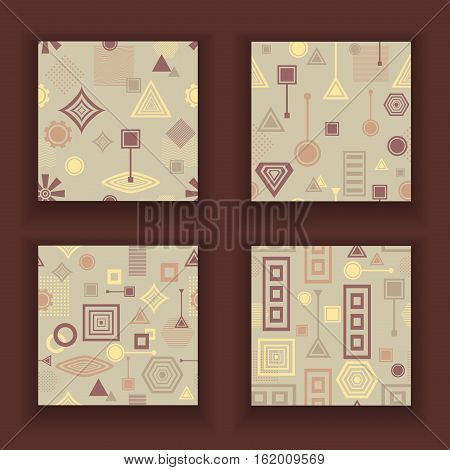 Set Abstract seamless patterns from geometric form in postmodern Memphis Style coffee colors for wallpaper or package or for clothes or for creative design abstract city or cafe