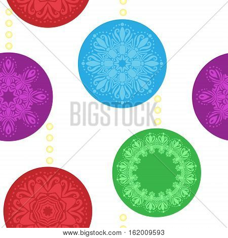 Seamless pattern christmas balls new year red blue green violet colors