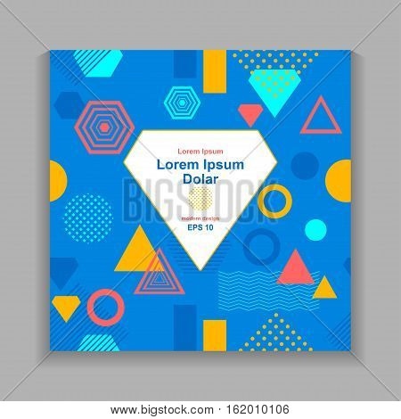 Template flyer or frame with Abstract  pattern from geometric form in postmodern Memphis Style on blue for package or for creative design abstract city  or  summer