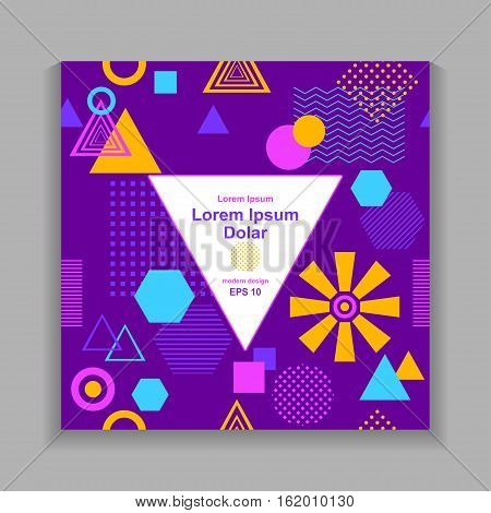 Template flyer or frame with Abstract  pattern from geometric form in postmodern Memphis Style on lilac for package or for creative design abstract city or autumn poster