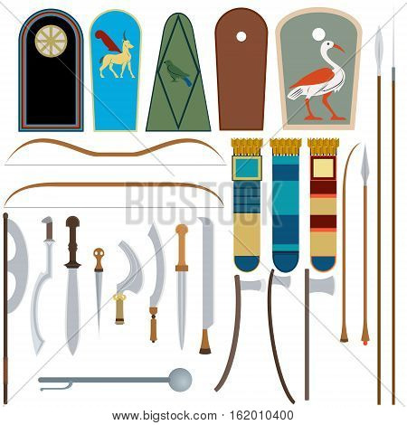 Collection of Egyptian weapons. The illustration on a white background.