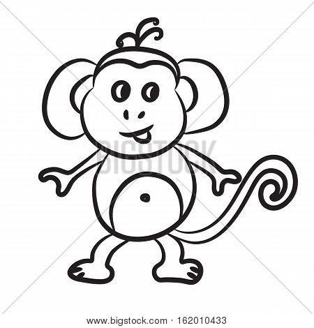 Outlined monkey vector illustration. Isolated on white