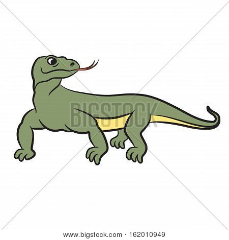 Illustration of varan (komodo dragon). Vector on white background