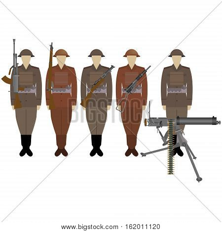 British soldiers with guns of World War II. The illustration on a white background.
