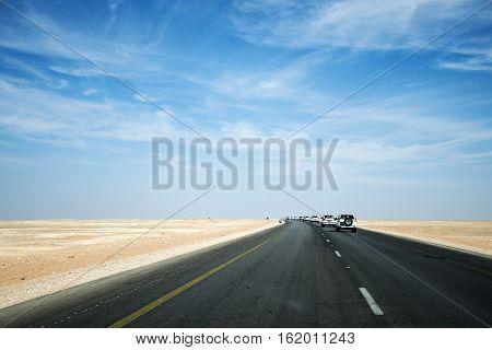 Offroad Tour safari road in the desert in Oman Salalah