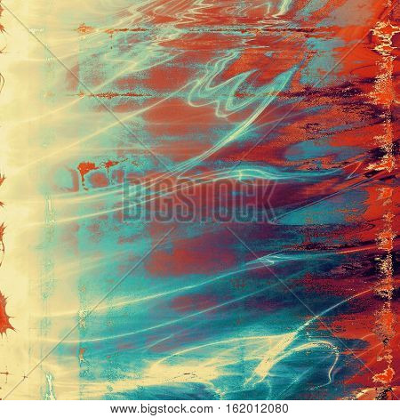 Aged vintage background with weathered texture, grunge design elements and different color patterns: yellow (beige); brown; blue; red (orange); purple (violet); pink