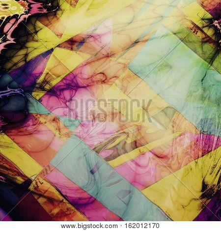 Geometric vintage mottled frame, textured grunge background with different color patterns: yellow (beige); green; blue; red (orange); purple (violet); black