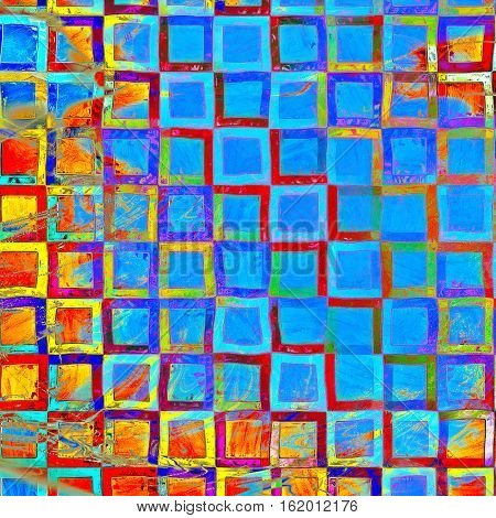 Geometric creative elegant design used as retro background for your art project. With grunge texture and different color patterns: yellow (beige); green; blue; red (orange); purple (violet); pink