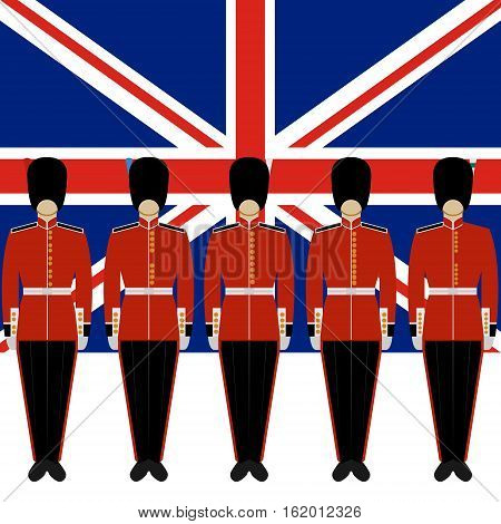 Soldiers British Royal Guard on the background of the flag of England. The illustration on a white background.