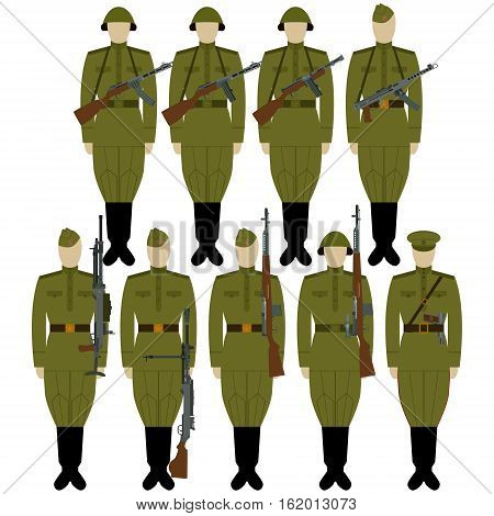 Soldiers of the Soviet Union with weapons of World War II. The illustration on a white background.