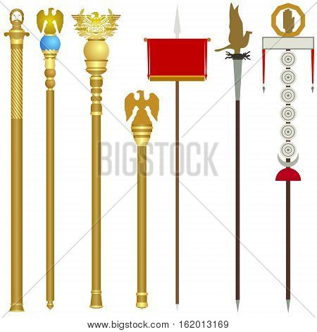 The symbolism of the legions of ancient Rome. The illustration on a white background.