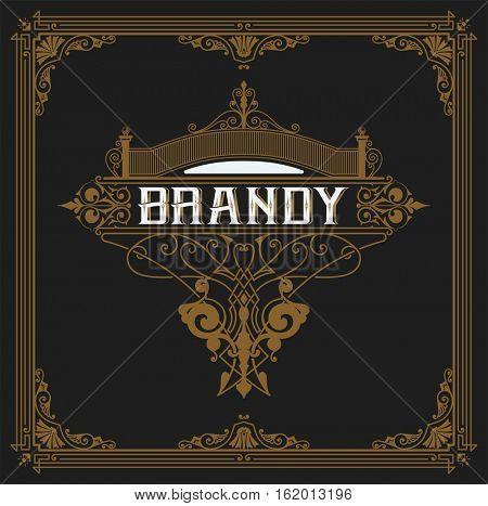 Old  label design for Brandy and Wine label, Restaurant banner, Beer label.