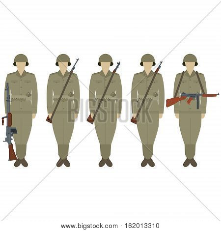 US soldiers with weapons of World War II. The illustration on a white background.