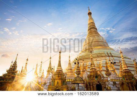 Shwedagon pagoda at sunset nice sky, Yangon Myanmar