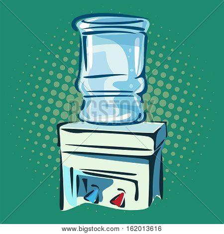 Hand drawn pop art illustration of water cooler. Retro style.