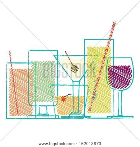 Alcohol drinks and cocktails in glasses decorative scribble set isolated vector illustration