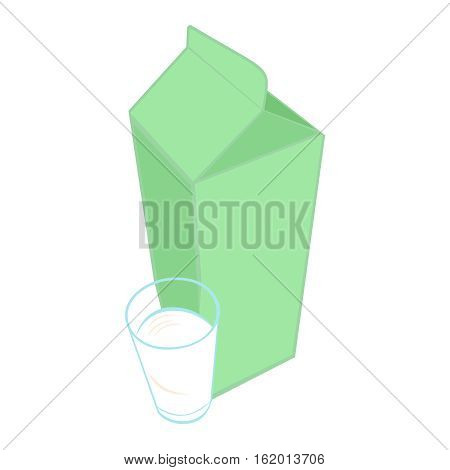 Milk carton pack and a glass of milk. Vector illustration, isolated on white background.