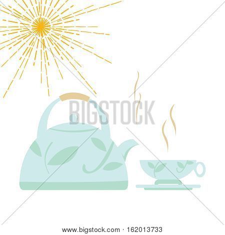 Cartoon kettle with boiling water and a cup. Vector illustration.