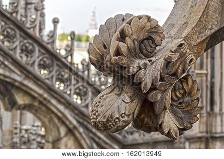 Architectonic details from roof of the famous Milan Cathedral Lombardy Italy.