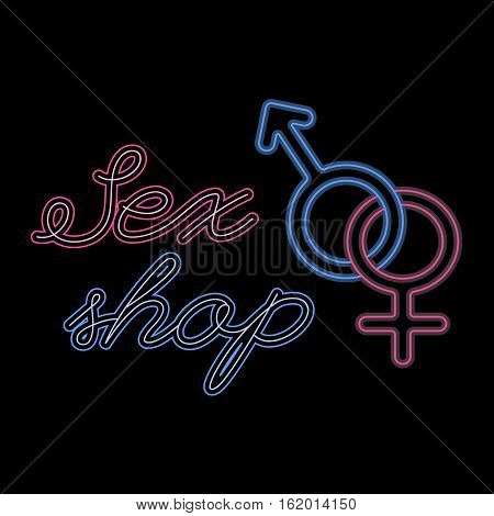 Sex shop logo template, neon signage, editable vector design element, intimate xxx adult store logotype concept, gender symbol with stylish lettering