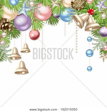 Vector Christmas background with pink, blue, purple and silver balls and bells and green fir-tree branches.
