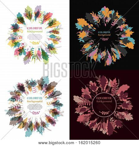Set of autumnal round frames. Wreaths of autumn leaves. Background with hand drawn autumn leaves. Fall of the leaves. Sketch, design elements. Vector illustration.