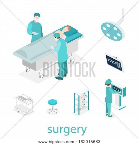 Isometric Flat 3D Concept Vector Interior Of Surgery Department.