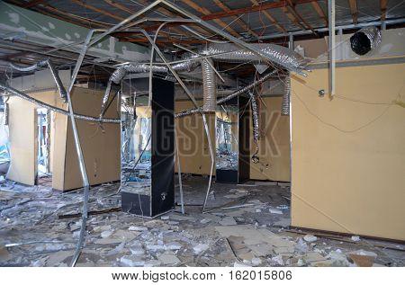 Small busineses destructed and marauded by professional ukrainian patriots to free urban space for shop Roshen.TM Roshen is property of Ukrainian president Poroshenko.December 15,2016,Kiev, Ukraine