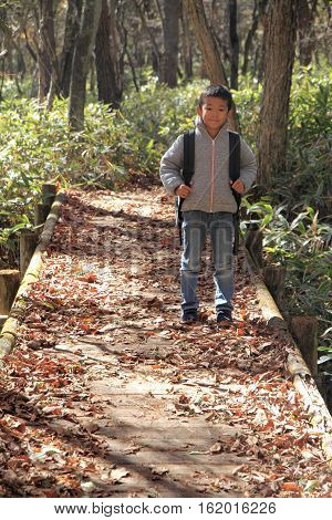 Japanese boy on a hike (first grade at elementary school)