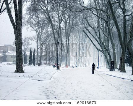 an image of a man in winter time
