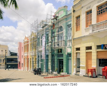 Joao Pessoa PB Brazil - December 7 2016: Historic center of Joao Pessoa city. Very old house in the vintage style being restored. Restoration of old house.