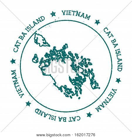 Cat Ba Island Vector Map. Distressed Travel Stamp With Text Wrapped Around A Circle And Stars. Islan