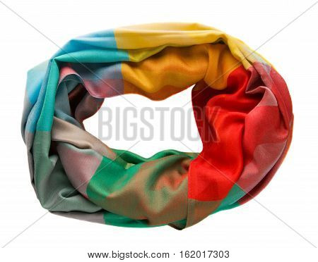 Scarf Isolated On White Background.scarf  Top View .variegated Scarf .
