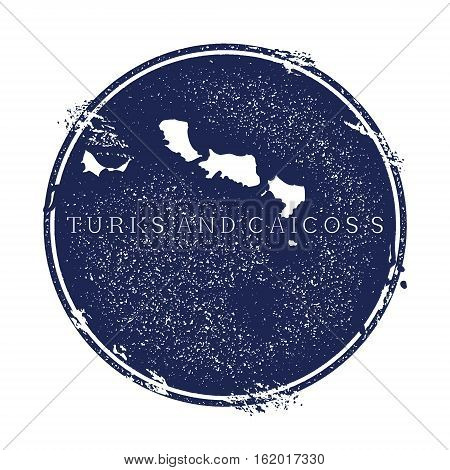 Turks And Caicos Islands Vector Map. Grunge Rubber Stamp With The Name And Map Of Island, Vector Ill