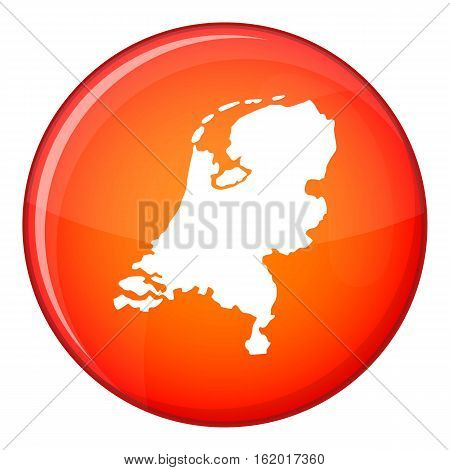 Holland map icon in red circle isolated on white background vector illustration