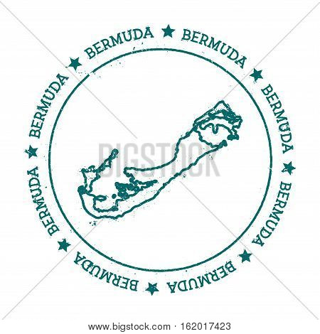 Bermuda Vector Map. Distressed Travel Stamp With Text Wrapped Around A Circle And Stars. Island Stic