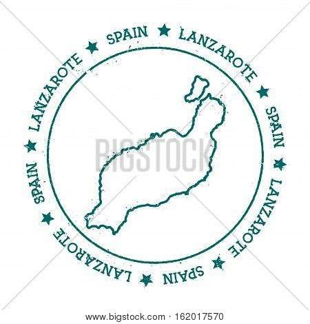 Lanzarote Vector Map. Distressed Travel Stamp With Text Wrapped Around A Circle And Stars. Island St
