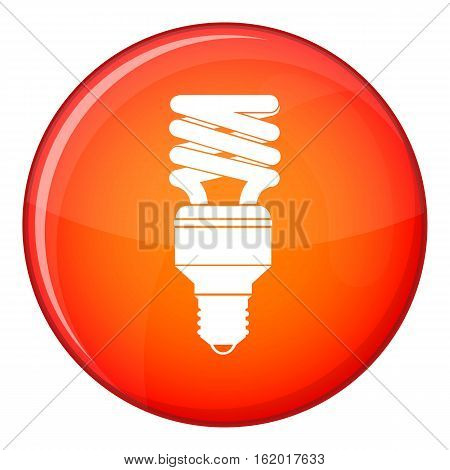 Energy saving bulb icon in red circle isolated on white background vector illustration