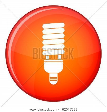 Fluorescent bulb icon in red circle isolated on white background vector illustration