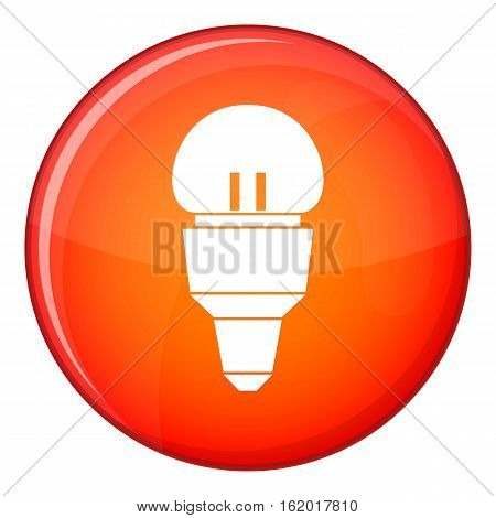 Reflector bulb icon in red circle isolated on white background vector illustration