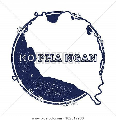 Ko Pha Ngan Vector Map. Grunge Rubber Stamp With The Name And Map Of Island, Vector Illustration. Ca