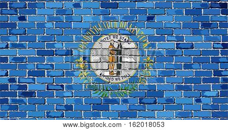 Flag of Kentucky on a brick wall with effect - Illustration,  The flag of the state of Kentucky on brick background,  Kentucky flag in brick style