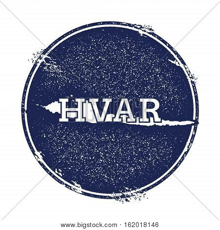 Hvar Vector Map. Grunge Rubber Stamp With The Name And Map Of Island, Vector Illustration. Can Be Us