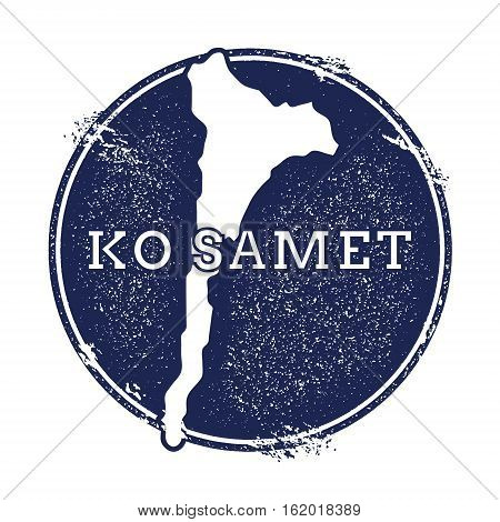 Ko Samet Vector Map. Grunge Rubber Stamp With The Name And Map Of Island, Vector Illustration. Can B