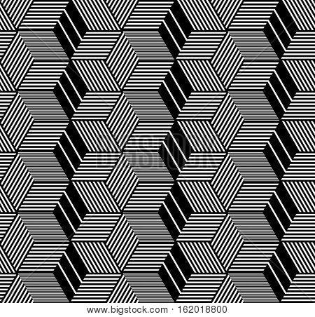 Seamless op art pattern. Geometric hexagons and diamonds texture. 3D illusion. Vector art.